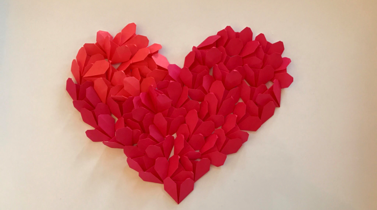 Origami Heart Collage Deco Making for Valentine's Day