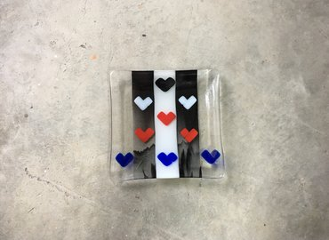Make a Heart You Heart Me Fused Glass Plate